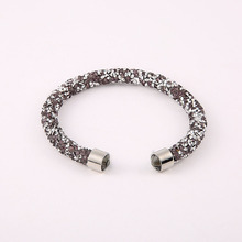 Free Shipping Single Rhinestone Bracelets And Bangle Crystal Cuff Bracelets Paved Rhinestone Bangles Colors(China)