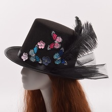 Vintage Black Mini Top Hats with Clips Cute Butterflies Decoration Hair Clip Headwear(China)