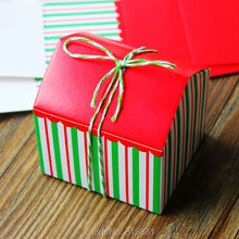 Green and red Striped Small house Cake boxes,Biscuits Boxes For Party 50pcs/lot