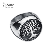 Top Quailty Punk Retro Biker Ring World Tree 316L Stainless Steel Finger Signet Ring For Men Gift Military Jewelry