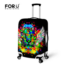 Black Travel Luggage Cover Waterproof Animal Tiger Head Luggage Protective Cover Elastic 18-28inch Anti-dust Suitcase Cover