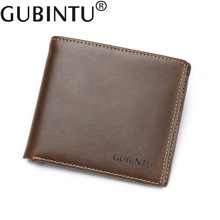 Gubintu Vintage Real Crazy Horse Fashion Cowhide Genuine Leather Men Wallet Male Purse Short Perse Walet Cuzdan Vallet Money Bag(China)