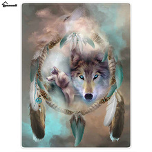 Beach Bath Towel Funny Blankets Comfort Warmth Soft Cool Wolf Dream Catcher(China)
