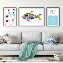 Mediterranean Small Fresh Simple Sea Fish Seagull Art Print Poster Image Canvas Mural Children Bedroom Wall Decoration Painting