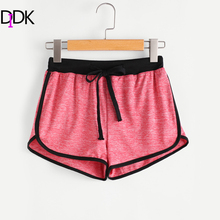 DIDK Red Colorblock Drawstring Waist Ringer Casual Shorts Womens Mid Waist Loose Shorts 2017 Autumn Exercise Shorts(China)
