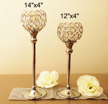 "2Pcs/Lot  Glass Crystal CandleHolders, H14""+ H12""/ Set , Wedding Candlesticks/ Centerpiece, Free Ship"