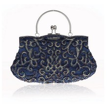 New Design Navy Blue Chinese Women Beaded Wedding Evening Bag Clutch handbag Stylish Bride Party Purse Makeup Bag
