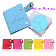 2017 New 24 Slots Nail Art Image Plate Leather Folder Holder Case for Dia 5.6cm Stencil Polish Nail Stamping Disc Template Album(China)