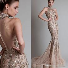 2017 Couture Halter Neck Sheer Open Back Lace Beaded Applique Sweep Train Mermaid Evening Gown Sexy Tulle Evening Dresses
