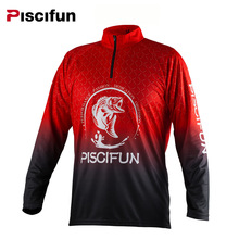 Piscifun Polyester Long Sleeve Half Zipper UPF 30 Protection Quick Drying Breathable Men Fishing Shirt