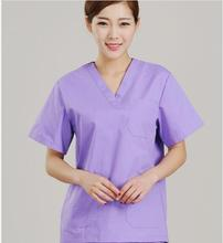 2018 new hospital medical scrub set clothes dental clinic beauty salon nurse uniform V-neck unisex slim fit(China)