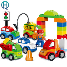 HuiMei Variety of Car Big DIY Building Blocks Bricks Baby Early Educational Learning Train Birthday Gift Toys for Kids Children