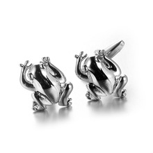 High Quality silver color Animal silver color frog cufflink for mens Brand cuff buttons cuff links abotoaduras Jewelry(China)
