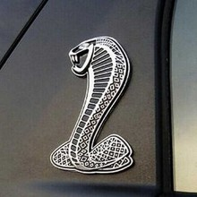 (Silver) 3D Metal Chrome Sticker Car Grille turning logo Cobra emblem for Ford Shelby Mustang Carros Car Styling