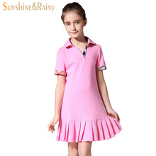 Big Girl Summer Dress Brand Cotton Polo T-shirt Dress Ruffles Tutu Princess Dress For teenage girl Kids School Clothes Pink Red