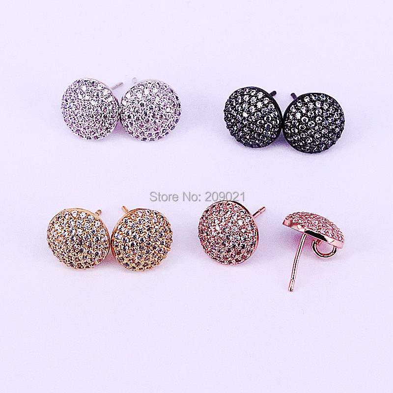 6Pairs Wholesale High quality Fashion CZ Jewelry Full Paved Cubic Zirconia Round Studs, 12mm, Earrings Findings