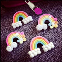 2016 Fashion 4Pcs/lot Rainbow Hair Clip Children Hair Accessories Kids Star Polymer Clay Lovely Barrettes for Girls Hairpin(China)