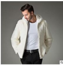 2016 Men Faux Mink Fur Hooded Jackets Casual White Casual Jaqueta Masculina Brand Clothing Casaco Masculino Male Fur Coats J1382