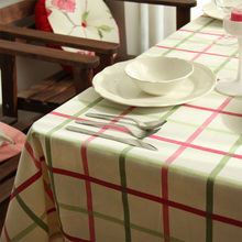 Pastoral Pink and Green Table Cloth High Quality Cotton Rectangular Dinning Tablecloths Cover Home Decorative