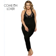 Comeonlover Sexy Sleepwear Lace Halter Backless Home Wear Elegant 2 Pieces Soft Top+Pants Sexy Nightgown Big Pajama Sets Women