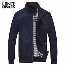 Solid color New 2017 Casual Jacket M-5XL 6XL Men Spring Autumn Outerwear Mandarin Collar Clothing(China)