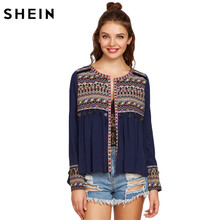 SHEIN Women Long Sleeve Blouse Autumn Ladies Blouses 2017 Embroidered Yoke and Cuff Coin Fringe Trim Vintage Blouse(China)
