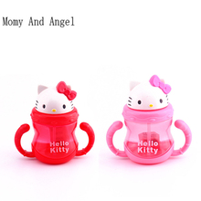 Momy And Angel Kitty Baby bottle Kid Straw Cup with Handles Child Bottle Sippy Cups Children Learn Drinking Water Straw Baby Cup