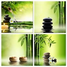 Modern 4 Panel Zen Giclee Canvas Prints Perfect Bamboo Green Pictures on Canvas Wall Art for Home Office Decorations Living Room