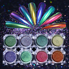 0.2g Peacock Chameleon Nail Powder Holo Mirror Nail Art Chrome Pigment Holographic Nail Dust Glitters Decorations(China)