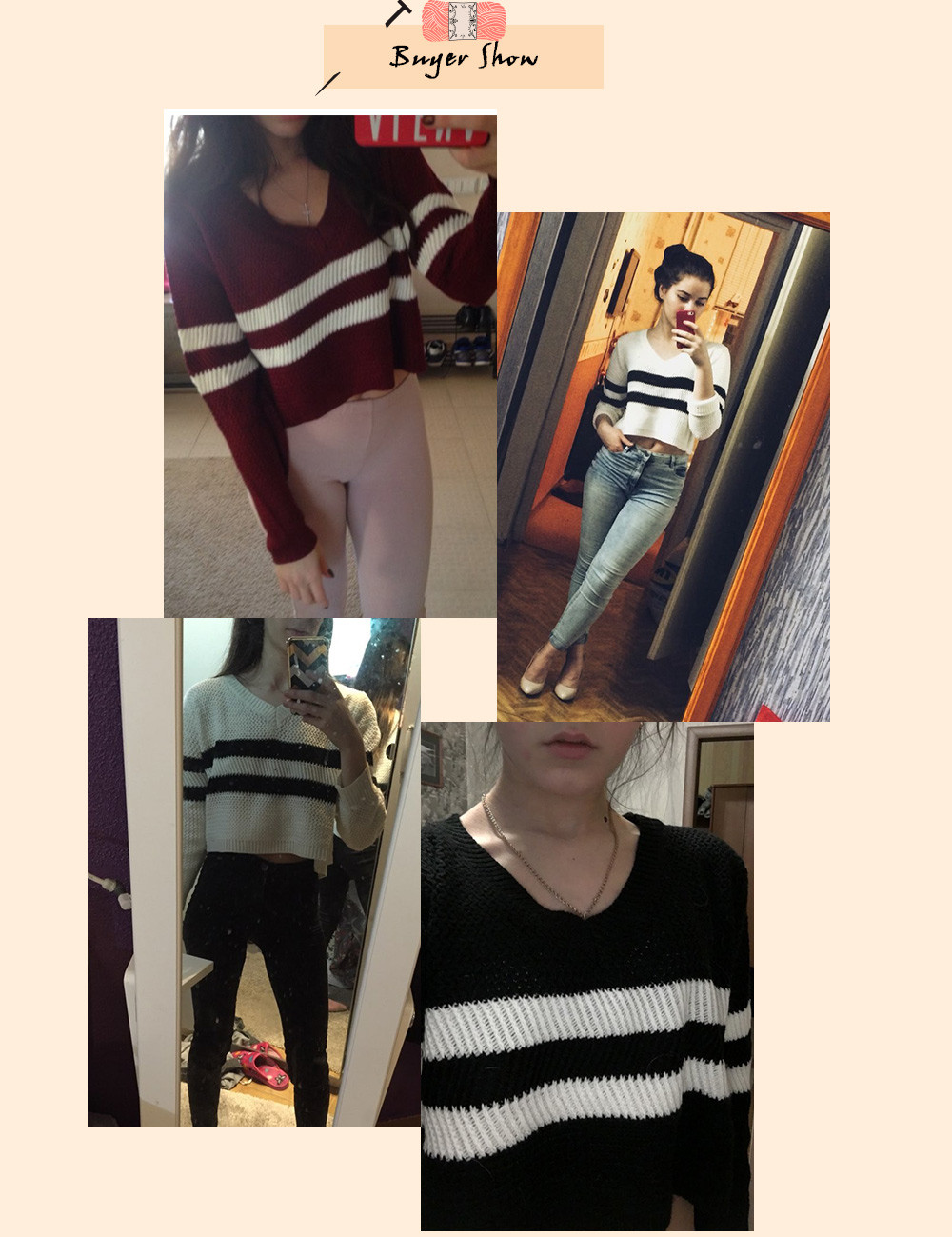 4 Colors!Spring Autumn Women Sweaters Pullovers V-neck Crop Tops Striped Long Sleeve Knitted Sweater Roupas Femininas T4N510 2