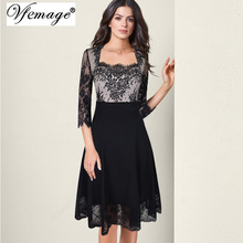 Vfemage Women Elegant Square Neck Floral Lace Sexy See Through 3/4 Sleeve Patchwork Cocktail Party Flare Swing A Line Dress 7092(China)