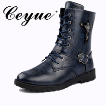 Ceyue New Military Hasp Lock Men Boots Metal Decoration Motorcycle Boots Men Zip Waterproof Microfiber Men Non-Slip Rubber Boots
