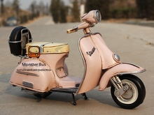 Classic Motorcycle Model 100% Handmade Iron Sheet Model VESPA 1:12 Retro Metal Piaggio Scooter Decoration Sheep Motor Kid