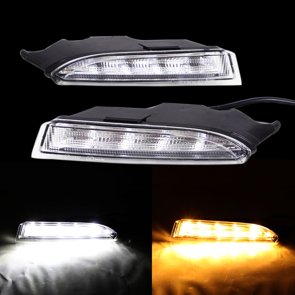 DRL Daytime Running Light for Volkswagen Scirocco R Line 2010 2011 2012 2013 2014 Left Right White DRL and Yellow Signal Light<br>
