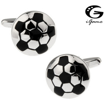 iGame Football Cuff Links Silver Color Copper Black Soccer Design Best Gift For Men Free Shipping(China)