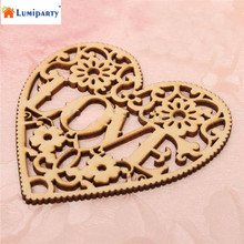 LumiParty DIY Ornaments Love Pattern Hollow Wood Chips Decoration 10pcs-20(China)