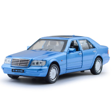 Classic 1:32 scale simulation 1993 Benz S series w140 model diecast cars alloy pull back toys with light and sound Collection
