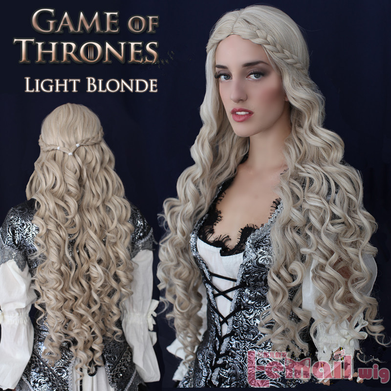 Free Shipping 100cm Curly Blonde Game of Thrones Cosplay wig<br><br>Aliexpress