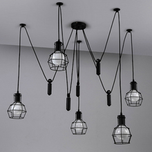 Hanging Lamp Retro Metal Wrought Iron Cage Loft E27 5Heads 6Heads AC For Decor Restaurant Designer Industrial Interior Lighting