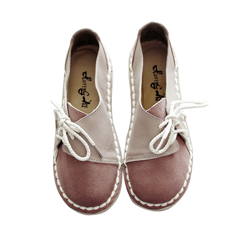 2017 new made handmade shoes female retro art round head flat womens shoes  low shoes<br>