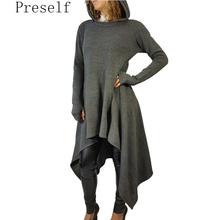 Preself Hooded Dress Casual Wear Irregular T Shirt Dresses Clothes Women Plus Size Autumn Winter(China)