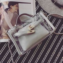 ADIYATE Women Transparent Handbag Women Messenger Bags Clear Pudding Shoulder Beach Bag Bolsa Fashion Transparent Bags Cheap