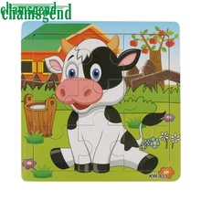 CHAMSGEND Modern CHAMSGEND Cartoon Baby Puzzle Set Toys Wooden Education Learning tools Toy For Kids Cow Frog Bee H31
