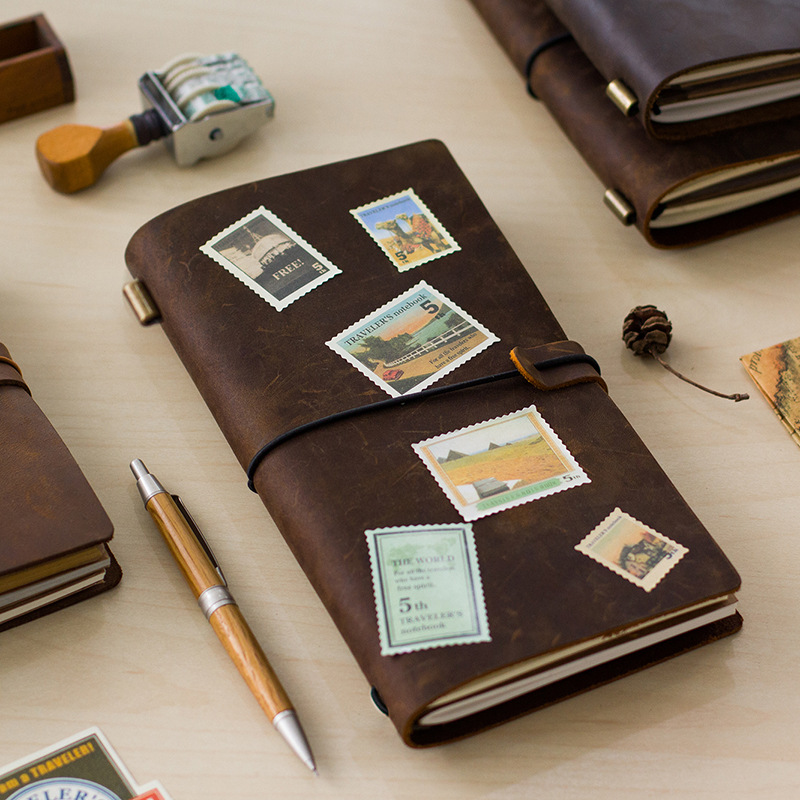 Hot Sale 100% Genuine Cow Leather Cover Travelers Notebook Diary Journal Vintage Handmade Cute Travel Note Book Pocket<br><br>Aliexpress