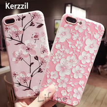 Kerzzil Silicone Soft Plum and Peach Flowers Pink Phone Case Cover For iPhone 6 6s 7 plus Coque Para iphone 7 Back lina