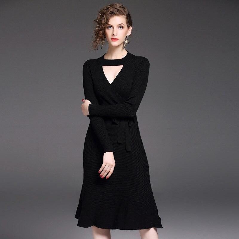 HMCHIME 2017 Autumn high elastic knitted dress fashion sexy round collar long sleeve A line pure color lacing woman dress HM701Îäåæäà è àêñåññóàðû<br><br>
