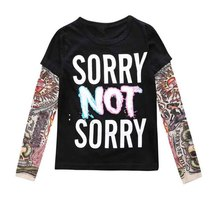 2017 Boy Clothes Cotton T-shirt Long Sleeve Children Tee Shirts Novelty Tattoo Sleeve Baby Girl Tops Spring&autumn Kids Clothing(China)