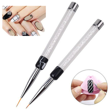Nail Art Brush 7mm 14mm Crystal Rhinestone Acrylic Brushes UV Gel Polish Painting Drawing Line Pen Liner Tips Tools DIY Manicure