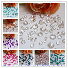 Free Shipping LANZZAY 850pcs/lot/color Mix 4 Sizes Acrylic Crystal Diamond Confetti Wedding Party Decoration(China)