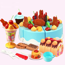 75pcs/set DIY Fruit Cutting Birthday Cake Kids Baby Early Educational Classic Toy Pretend Play Kitchen Food Toys Children Gifts